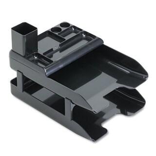 deflecto Corporate Desk Tray Set Two Tier Plastic Metallic Black
