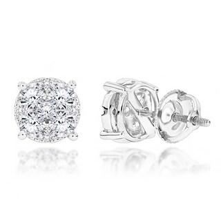 Luxurman 14k Gold 1 1/5ct TDW Round Diamond Stud Earrings