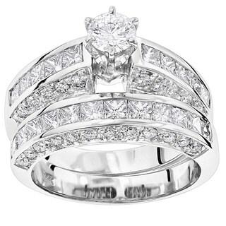 Luxurman 14k Gold 5 1/10ct TDW Diamond Designer Engagement Ring Set