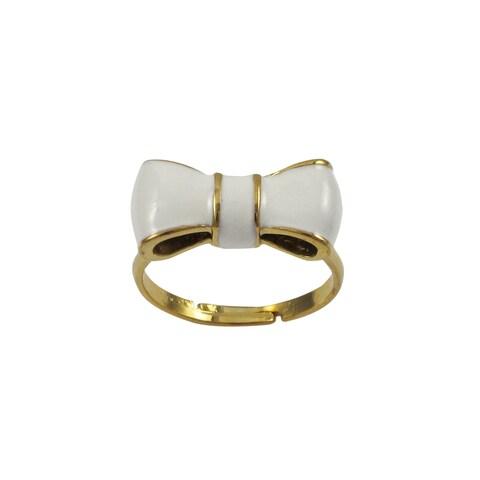 Luxiro Gold Finish Children's White Enamel Bow Adjustable Ring