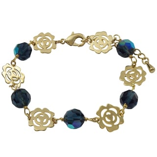 Luxiro Gold Finish Opalescent Blue Beads Cutout Rose Bracelet