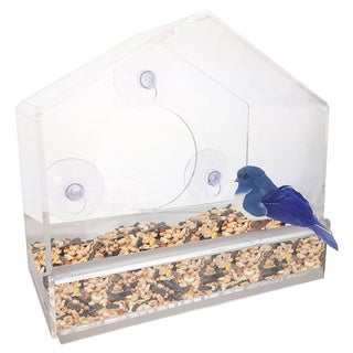 Window Suction Cup Bird Feeder, with Removable Tray, Drainage Holes, and Strong Suction Cup
