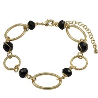 Luxiro Gold Finish Black Beads Linked Ovals Bracelet