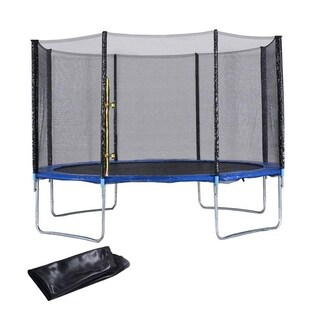 14FT Heavy Duty Trampoline Safety Enclosure Net W/Spring Pad Ladder