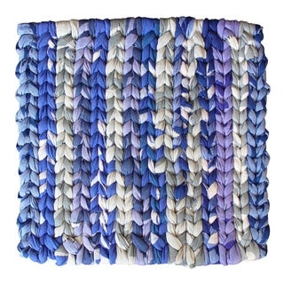 Handmade Woven Blue Recycled Fabric Trivet - Global Mamas (Ghana)