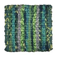 Handmade Woven Green Recycled Fabric Trivet - Global Mamas (Ghana)