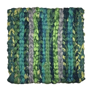 Handmade Woven Green Recycled Fabric Trivet - Global Mamas (Ghana)