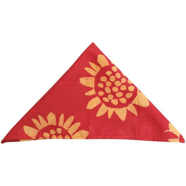 Handmade Set of Four Red Sunflower Napkins - Global Mamas (Ghana)