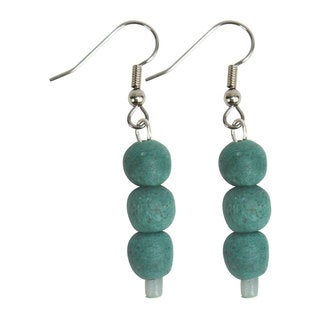 Handmade Teal Recycled Glass Bead Earrings - Global Mamas (Ghana)