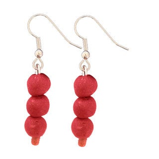 Handmade Poppy Recycled Glass Bead Earrings - Global Mamas (Ghana)