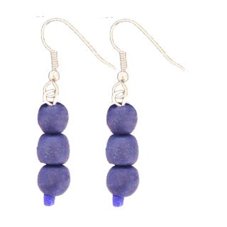 Handmade Blueberry Recycled Glass Bead Earrings - Global Mamas (Ghana)