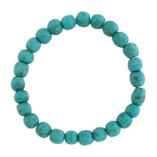 Handmade Teal Recycled Glass Bead Bracelet - Global Mamas (Ghana)