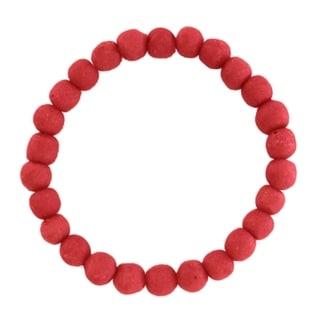 Handmade Poppy Recycled Glass Bead Bracelet - Global Mamas (Ghana)