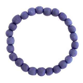 Handmade Blueberry Recycled Glass Bead Bracelet - Global Mamas (Ghana)