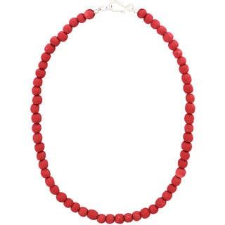 Handmade Poppy Recycled Glass Bead Necklace - Global Mamas (Ghana)