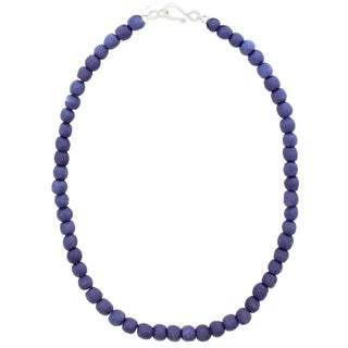 Handmade Blueberry Recycled Glass Bead Necklace - Global Mamas (Ghana)