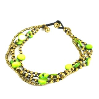 Handmade Lime Many Moons Anklet - Global Groove (Thailand)