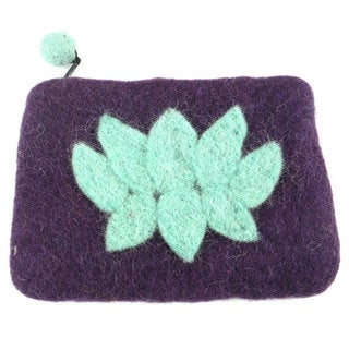 Handmade Felt Wine Lotus Flower Coin Purse - Global Groove (Nepal)