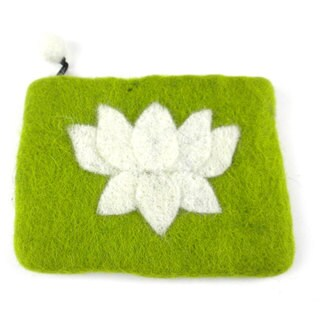 Handmade Felt Lime Lotus Flower Coin Purse - Global Groove (Nepal)