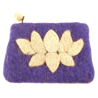 Handmade Felt Purple Lotus Flower Coin Purse - Global Groove (Nepal)
