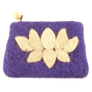 Handmade Felt Purple Lotus Flower Coin Purse - Global Groove (Nepal)