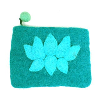 Handmade Felt Turquoise Lotus Flower Coin Purse - Global Groove (Nepal)