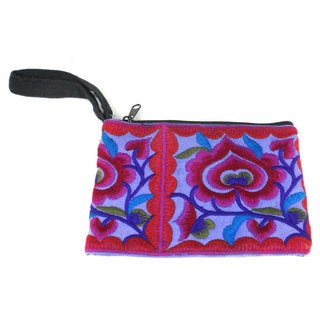 Handmade Purple Hmong Embroidered Coin Purse - Global Groove (Thailand)