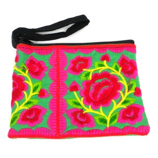 Handmade Green Hmong Embroidered Coin Purse - Global Groove (Thailand)