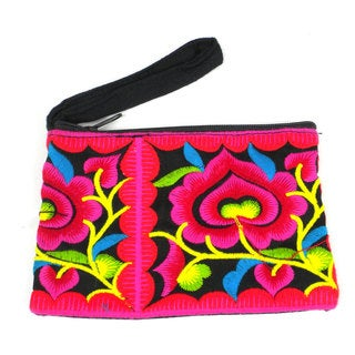 Handmade Black Hmong Embroidered Coin Purse - Global Groove (Thailand)