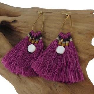 Handmade Fuschia Fringe Earrings - Global Groove (Thailand)