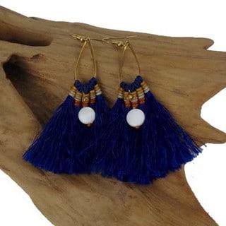 Handmade Cobalt Fringe Earrings - Global Groove (Thailand)