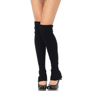 Leg Avenue Black Acylic Extra-long Ribbed Knit Leg Warmers