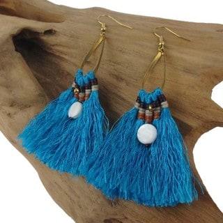 Handmade Turquoise Fringe Earrings - Global Groove (Thailand)