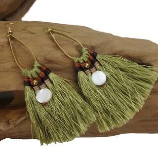 Handmade Olive Fringe Earrings - Global Groove (Thailand)