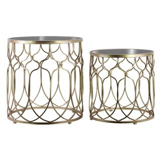Metal Round Nesting Accent Table with Mirror Top Patterned Design and Round Base Set of Two Tarnished Finish Champagne