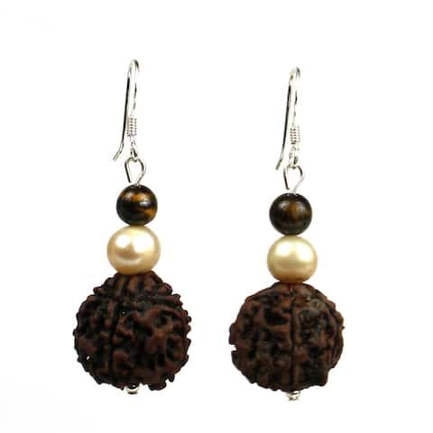 Handmade Rudraksha, Tiger Eye and Pearl Earrings - Global Groove (Thailand)