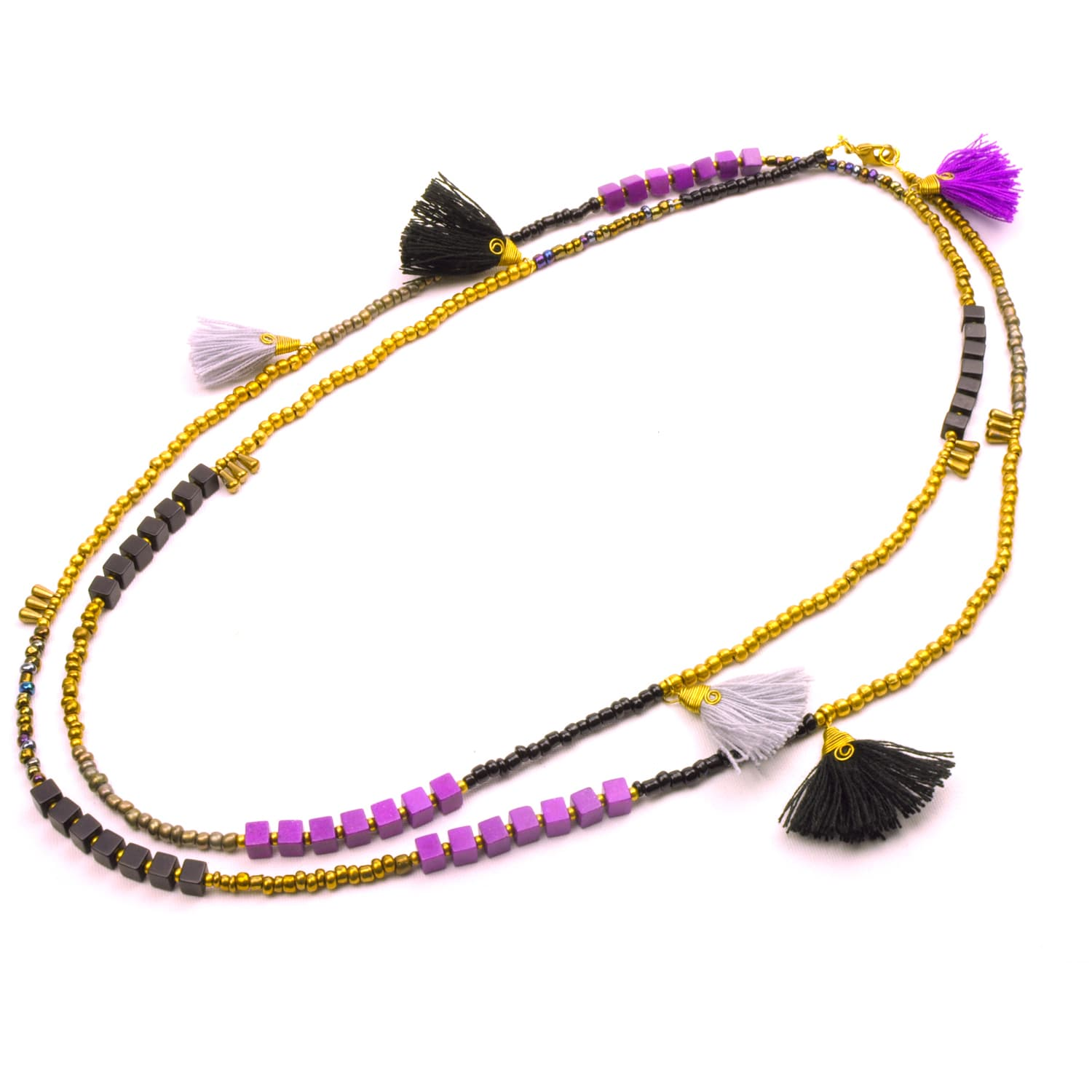 Global Crafts Handmade Midnight Kerala 3-in-1 Necklace - ...