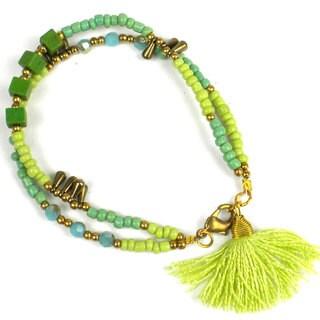 Handmade Lime Kerala Tassel Bracelet - Global Groove (Thailand)