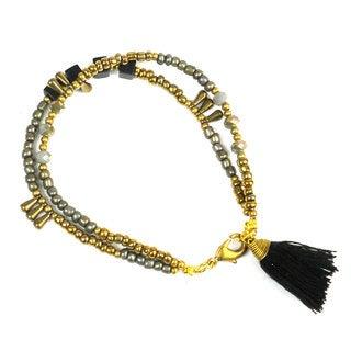 Handmade Raven Kerala Tassel Bracelet - Global Groove (Thailand)