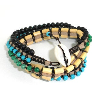 Handmade Wise Truth Vegan Wrap Bracelet - Global Groove (Thailand)