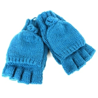 Handmade Posy Flap-Over Gloves in Teal - Global Groove (Nepal)