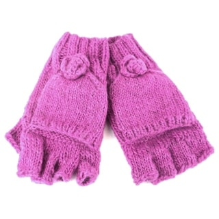 Handmade Posy Flap-Over Gloves in Pink - Global Groove (Nepal)