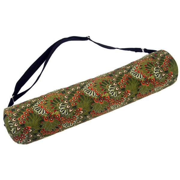 Handmade Moss Forest Peacock Yoga Mat Bag - Global Groove (Thailand)