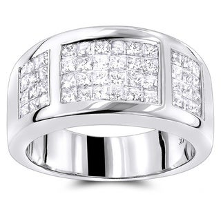 Luxurman 14k Gold 1 1/2ct TDW Princess-cut Diamond Wedding Band