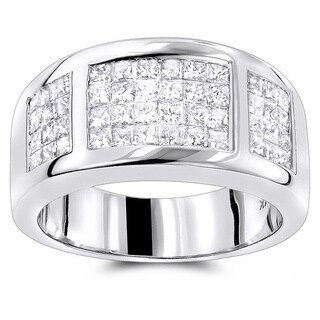 Luxurman 14k Gold 1 1/2ct TDW Princess-cut Diamond Wedding Band (3 options available)