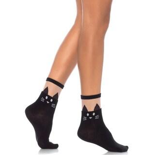 Leg Avenue Black Cat Sheer Top Opaque Anklet