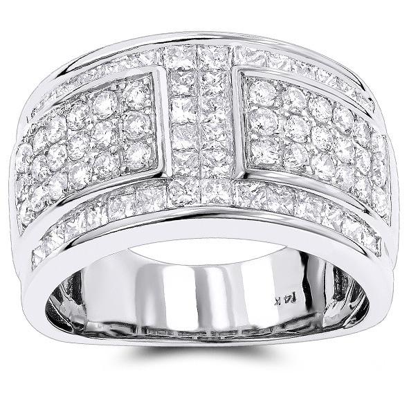Luxurman 14k White Gold 2 3/4ct TDW White Diamond Wedding Ring