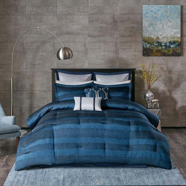 Madison Park Colton Navy Jacquard 8 Piece Comforter Set