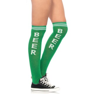 Leg Avenue White and Green Acrylic Beer Time Athletic Socks