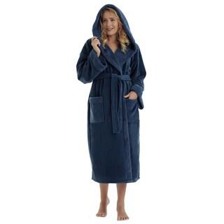 Arus Women's Hooded Sherpa Trim Fleece Bathrobe